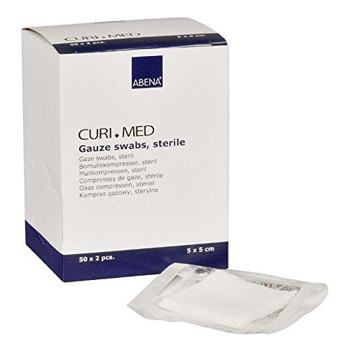 Curimed - sterile Mullkompressen - weiß - 5 x 5 cm - 100 Stück
