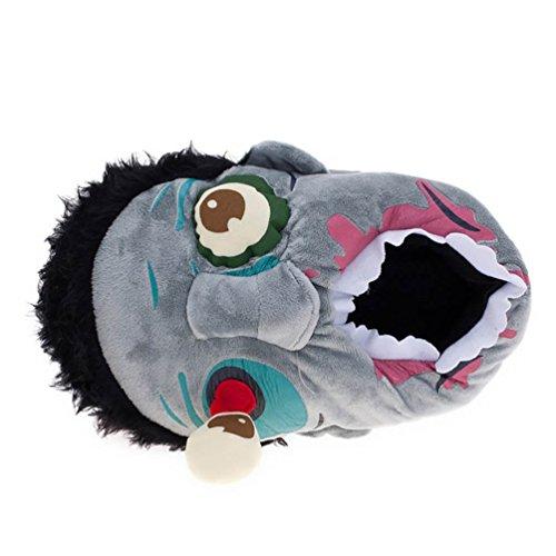 YOUJIA Erwachsene Plüsch Tier Hausschuhe Warme Flauschige Pantoffeln Puschen Zombie Winterschuhe, Grau