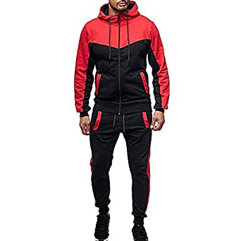 Sunward Men Clothing Set,Sports Suit Autumn Winter Packwork Sweatshirt Top Pants Sets Tracksuit Red