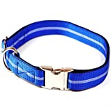 Hundehalsband, Alu-Max®, Soft Nylon, Blau mit Streifen, 30-50cm, 20mm, mit Zugentlastung