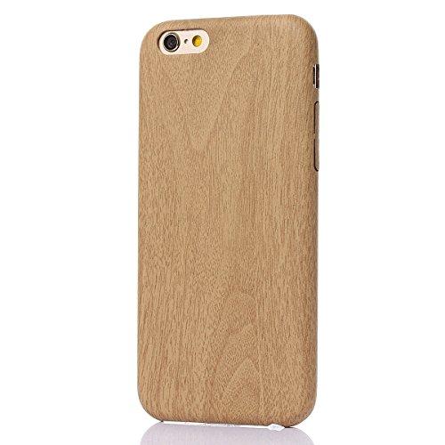 iPhone 6 Hülle,Fodlon® Mode Holz Korn Weich TPU Telefon Schutzhülle-Schwarz Licht