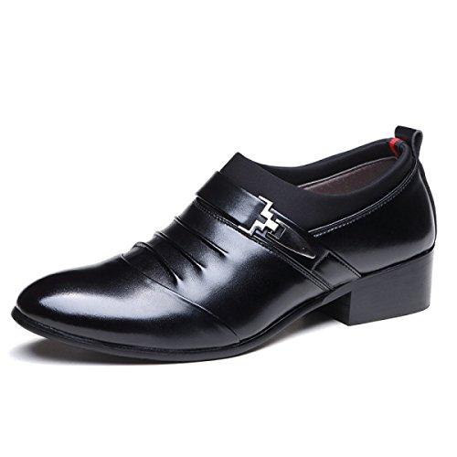 GRRONG Herren Lederschuh Echtes Leder Zeigt Geschäft-formales Kleid Black