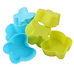 6 Pieces Butterfly Shape Non-stick Silicone Bakeware Baking Cup Cake Molds - Perfect for Cup Cakes, Muffins, Gelatin, Desserts