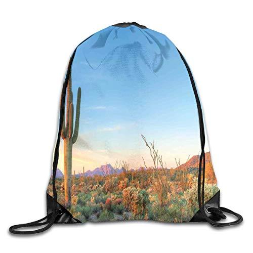 HLKPE Drawstring Backpacks Bags Daypacks,Sun Goes Down In Desert Prickly Pear Cactus Southwest Texas National Park,5 Liter Capacity Adjustable for Sport Gym Traveling Colorblock-parka
