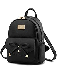 Redlicchi Cute Black Mini PU Leather Backpack Fashion Small Daypacks Purse for Girls and Women