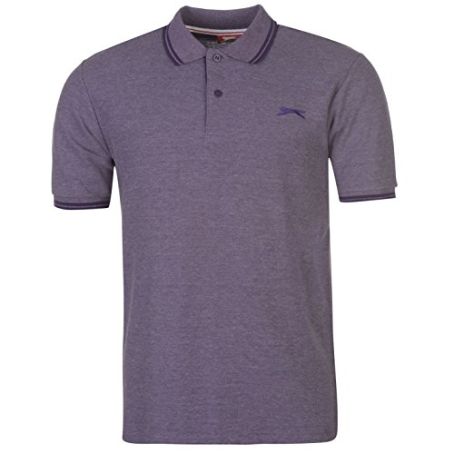 Slazenger Herren Polo Shirt Kurzarm Streifen Details Violettt Marl XL