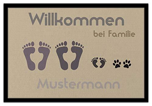 Individuell bedruckte Fußmatte - \'Fussabdruck\' in 3 Größen waschbar bei 40°, Größe der Fußmatte:50 x 70 cm