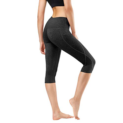 Spandex Workout Shorts (HMIYA Damen Fitness Shorts Sport Leggings Yoga Sporthose Kurze Yogahose Workout Tights Hohe Taille mit Taschen(Grauschwarz,L))