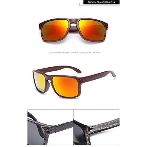 Taiyangcheng Herren Sonnenbrillen Holzmaserung quadratische Linsen Unisex-Sonnenbrillen grüne Sonnenbrillen,braun und rot