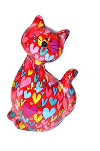 Tirelire chat assis Caramel. Pomme Pidou Tirelire en céramique avec des motifs animaux amusants, rot Herz, 20 x 17 cm