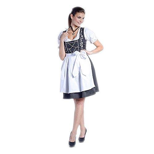 donnerlittchen! Mini- oder Midi-Dirndl Emma Schwarz mit schöner weißer Stickerei inklusive Bluse und Schürze, Größe:44;Länge:Mini-Dirndl (Knielänge)
