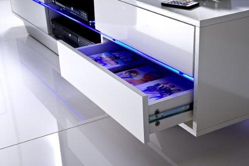 Robas Lund 59075W14 Blues Media TV Lowboard, Klarglasboden, RGB LED Wechselbeleuchtung mit Fernbedienung, 4 Schubkästen, 2 Fächer, 160 x 40 x 36 cm, MDF Hochglanz weiß lackiert - 5
