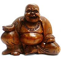 Fairtrade intagliato Buddha Statua Rub cinese-big belly per fortuna, disponibile in tutti i colori & misure
