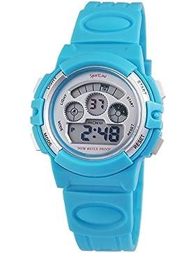 Digital-Armbanduhr Silber Blau + Box Quarz Silikon Damenuhr Kinderuhr Herrenuhr Unisex Sport Alarm Licht Stoppuhr...