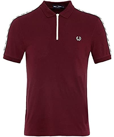 Fred Perry Hommes zip neck pique polo shirt Aubergine S