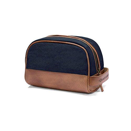 DRAKENSBERG Kimberley Dopp Kit, sac éponge, trousse de toilette, sac de toilette, nécessaire, toile, canvas, cuir de buffle, vintage, bleu marine, marron