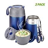 YGJT Thermobehälter im Set(500ml & 700ml) mit faltbaren Löffel und Gabel für Kinder/Erwachsene, Edelstahl Isolierbehälter für Mittag Essen, Speißen, Suppe, Babynahrung, Joghurt (Blau)