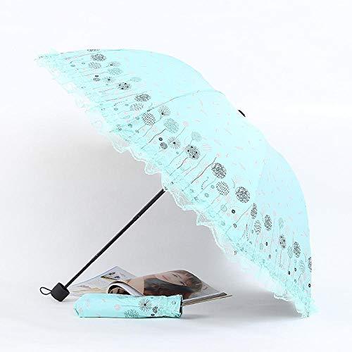 Dual-Use-Regenschirme zu arbeiten Taschenschirm Reisen dicken Regenschirmen Spitze Dreifach-Regenschirm Damen Sonnenschirm blauen Radius: 55cm (inklusive) -61cm (inklusive), Löwenzahn (Mintgrün) -