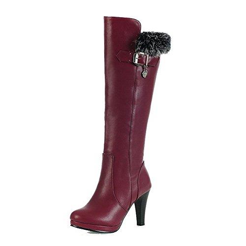 VogueZone009 Donna Cerniera Tacco Alto Luccichio Puro Alta Altezza Stivali con Talismano Chiaretto