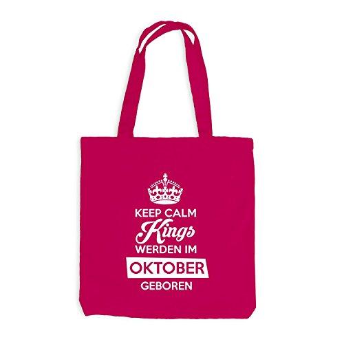 Jutebeutel - Keep Calm Kings werden im Oktober geboren - Birthday Geburtstag Pink