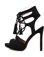 NobS Señoras Sandalias de tacón alto Mujer Borla Gamuza Sandalias de tacones altos Abiertas de punta cruz hueca Zapatos casuales , black , 36