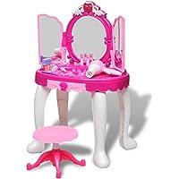 Preisvergleich für Kinder Schminktisch Frisiertisch mit Licht/Sound und 3 Spiegeln Material: Kunststoff
