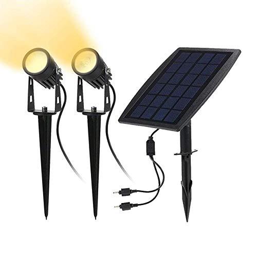 Solarleuchten Garten, Solar LED Strahler Außen, 2 Stücke 3000K Warmweiß, IP65 Wasserdicht, 3W 250LM für Outdoor Rasen Hof Veranda Terrasse Weg -