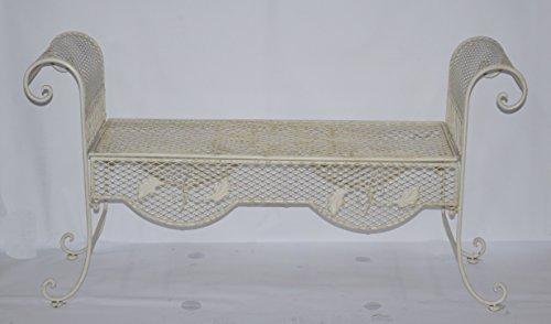 Decoratie Shabby Chic Bank Gartenbank Landhaus Eisen Weiß 134 cm