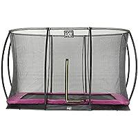 EXIT Trampolin Silhouette Ground Rechteckig + Sicherheitsnetz schwarz, grün oder pink