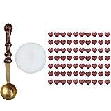 Demiawaking- 1 Set A Forma Di Cuore Bead con mini cucchiaio Ceralacca, confezione Wine Red