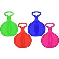 com-four® 4X Schneeflitzer Schneerutscher Rutscher Schlitten mit Handgriff in Verschiedenen Farben (4 Stück - Free)