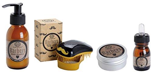 Kit de Soins et Entretien de la Barbe 4 pcs.: Shampooing Barbe, Baume Barbe, Huile à Barbe, Brosse à Barbe - Barbers by Baruffaldi