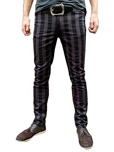 Röhrenjeans Skinny Hose Jeans Gestreift Mod Indie Grau Schwarz - W30 L31 Regulär