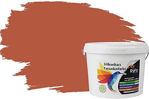 RyFo Colors Silikonharz Fassadenfarbe Lotuseffekt Trend Orangetöne Rotorange 3l - bunte Fassadenfarbe, weitere Orange Farbtöne und Größen erhältlich, Deckkraft Klasse 1