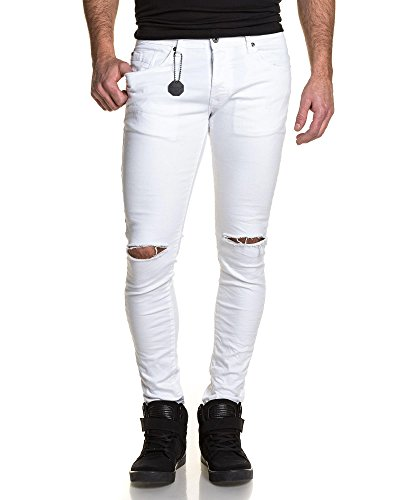 Project X - Jeans blanc homme slim troué aux genoux Blanc