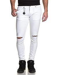 Project X - Jeans blanc homme slim troué aux genoux