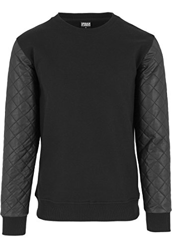 Preisvergleich Produktbild Urban Classics TB1110 Quilt Leather Imitation Crewneck Sweatshirt Pullover,  Farbe:wht / blk;Größen:S