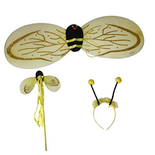 IPOTCH 3 in 1 Bienenflügel mit Fühler Bienenkostüm Haarschmuck Flügel Fee Zubehör Karneval Halloween Fasching Damen-Kostüm (Bumble Bee Halloween-kostüme Flügel)