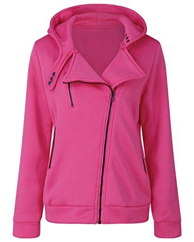 LAMEZI - Sudadera con capucha - Básico - Cuello redondo - Manga Larga - para mujer rosa rosa