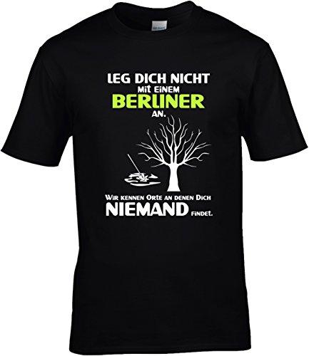 eb1fa24fe83291 Fun Shirt Herren Leg Dich nicht mit einem Berliner an Sprüche Berlin Leg  Dich niemals mit Schwarz