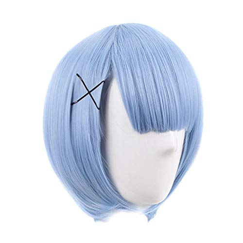 redCherry Anime Maid Rem Demon Slayer Characters Play Cosplay Wigs Manga Costume Synthetic Hair(Rem) - Styling Spiking Glue