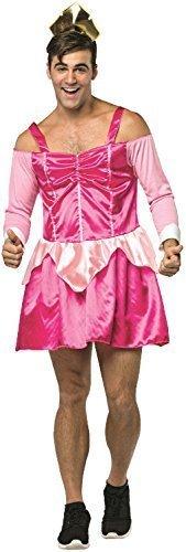 Fancy Me sexy Herren Prinzessin NEUHEIT Drag Junggesellenabschied Abend Party lustig Komödie peinlich Kostüm Kleid Outfit - Rosa, One Size (Sexy Rosa Prinzessin Kostüm)