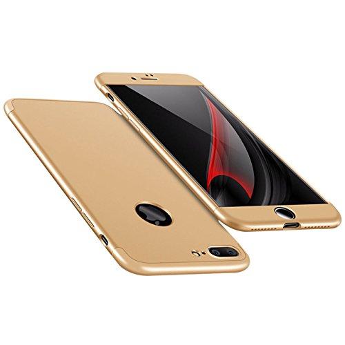 iPhone 7 Plus Hülle, 3 in 1 Ultra Dünner PC Harte Case 360 Grad Ganzkörper Schützend Anti-Kratzer Schutzhülle Vollschutz Hülle für Apple iPhone 7 Plus 5,5 zoll Fall Premium mattierte Schutzharte Kompl Gold