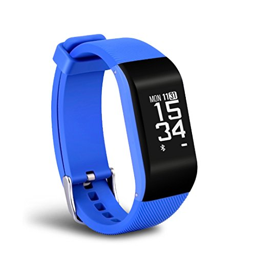 haotop Fitness Tracker HR, Activity Tracker Uhr mit Herzfrequenz Monitor, Smart Band, wasserdicht, mit Schrittzähler, Kalorienzähler, Schrittzähler Armbanduhr für Kinder Damen und Herren, Android & iOS (blau)