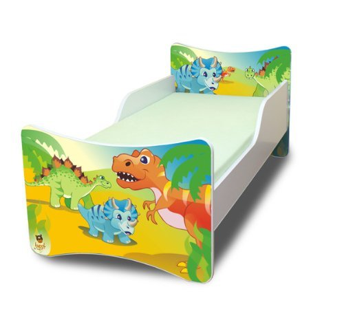 Best For Kids BFK baby bedCHLDREN'S BED with foam mattress with TÜV CERTIFIED Youth bed 70x140 + mattress + slatted frame + WALL STICKER (dinosaur) 4myBaby Cot with mattress 10 cm (TÜV tested foam) & with drawer (if indicated in the title) different designs. Made in the EU. Under the link you will find all the cots we have in the assortment: http://amzn.to/2eWuP4a Bed was made of high quality chipboard and has colorful prints on the fronts. The side panels are white. The imprint was made of ecological colors and additionally laminated, so the colors do not fade and can not be wiped off. The bed edges have a special coating and thus protect your child from injury. The Guardrails Prevents your little one from falling out of bed during sleep. The special production and high-quality materials ensure that all cots we offer are very stable and robust. The slatted frame consists of 2 cm thick cross bars made of wood and holds max. 150 kg body weight. A parent can sit on the bed and also lie with the child. Foam mattress with zippered cover. 1