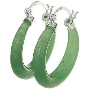 925Sterling Silber natürlichen Aventurin Stein Ring Drop Hoop Huggie Ohrring