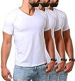 Young&Rich Herren V-Ausschnitt T-Shirt einfarbig körperbetont mit Stretchanteilen Uni Basic V-Neck Tee, Grösse:M, Farbe:Weiß / 3 Stück
