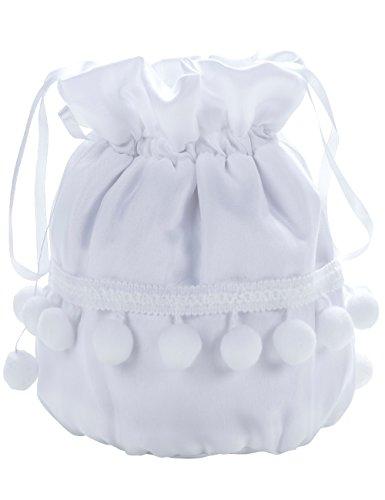 Princess Taufkleid Brautbeutel aus Satin in Weiß und Ivory Weiß/Schleife/Perlen