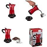 Cafetière électrique 300ml en rouge (Moka multi-cuisson, sans fil, fonction maintien au chaud, à piston de café expresso à piston 480W