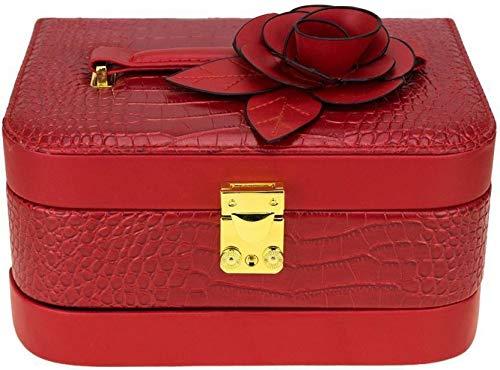 AVMART Leather Look Flower Cosmetic Organizer Fashion, Makeup, Multi Purpose, Jewellery Box Vanity Box (Red)